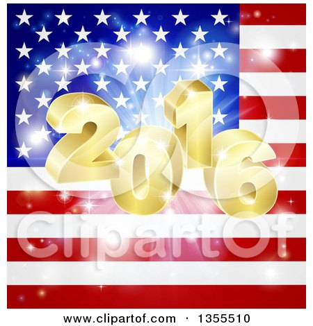 Clipart of a 3d Gold New Year 2016 Burst over an American Flag and Fireworks - Royalty Free Vector Illustration by AtStockIllustration