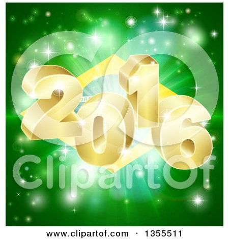 Clipart of a 3d Gold New Year 2016 Burst over a Brazilian Flag and Fireworks - Royalty Free Vector Illustration by AtStockIllustration