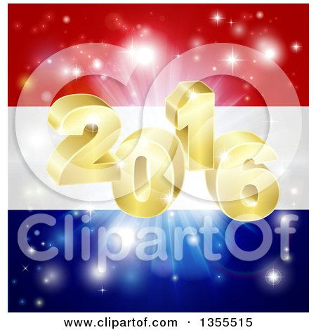 Clipart of a 3d Gold New Year 2016 Burst over a Dutch Flag and Fireworks - Royalty Free Vector Illustration by AtStockIllustration