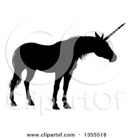 Clipart of a Black Silhouetted Mythical Unicorn - Royalty Free Vector Illustration by AtStockIllustration