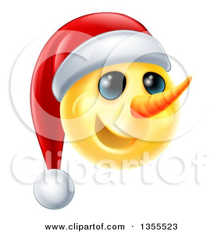 Clipart of a 3d Yellow Snowman Smiley Emoji Emoticon Wearing a Christmas Santa Hat - Royalty Free Vector Illustration by AtStockIllustration