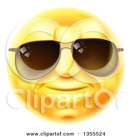 Clipart of a 3d Yellow Male Smiley Emoji Emoticon Face Wearing Sunglasses - Royalty Free Vector Illustration by AtStockIllustration