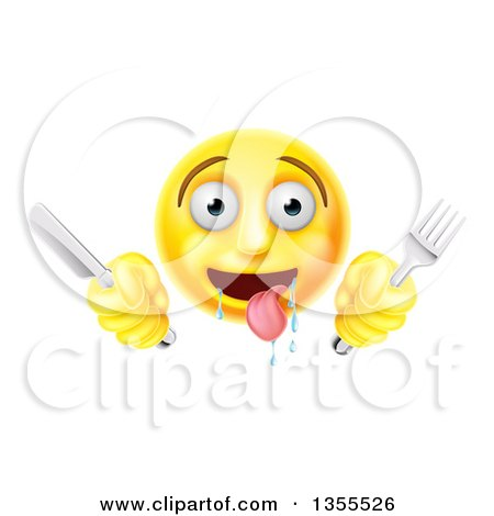 Clipart of a 3d Yellow Hungry Male Smiley Emoji Emoticon Holding a Knife and Fork - Royalty Free Vector Illustration by AtStockIllustration