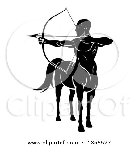 Clipart of a Black and White Centaur Archer, Half Man, Half Horse, Aiming to the Left - Royalty Free Vector Illustration by AtStockIllustration