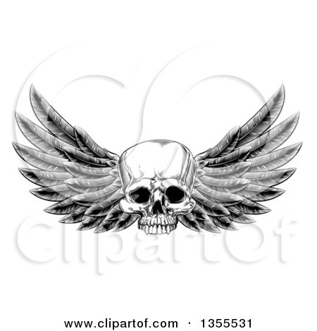 Clipart of a Black and White Vintage Engraved or Woodcut Winged Human Skull - Royalty Free Vector Illustration by AtStockIllustration