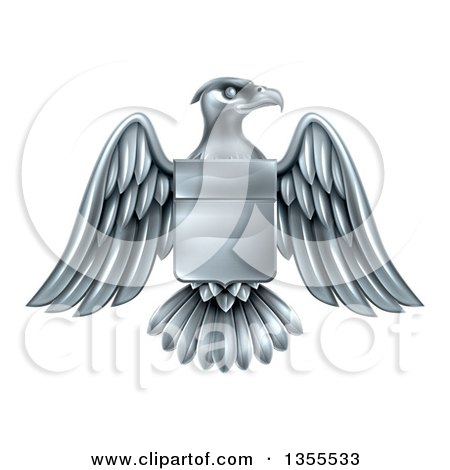 Clipart of a Silver Heraldic Coat of Arms American Bald Eagle with a Shield - Royalty Free Vector Illustration by AtStockIllustration
