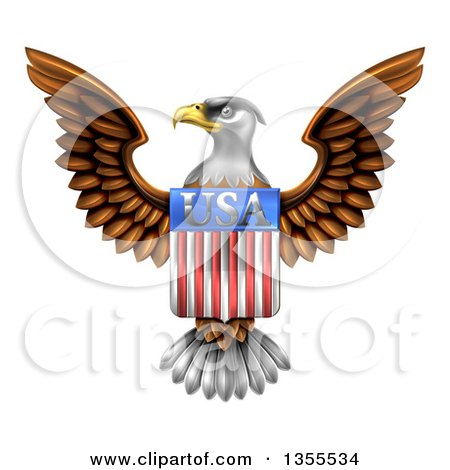 Clipart of a Flying American Bald Eagle with a USA Flag Shield - Royalty Free Vector Illustration by AtStockIllustration