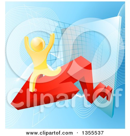 Clipart of a 3d Successful Cheering Gold Man Running on a Red Arrow over Graphs on Blue - Royalty Free Vector Illustration by AtStockIllustration