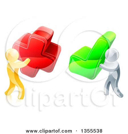 Clipart of 3d Right and Wrong Gold Men Carrying X and Check Marks - Royalty Free Vector Illustration by AtStockIllustration