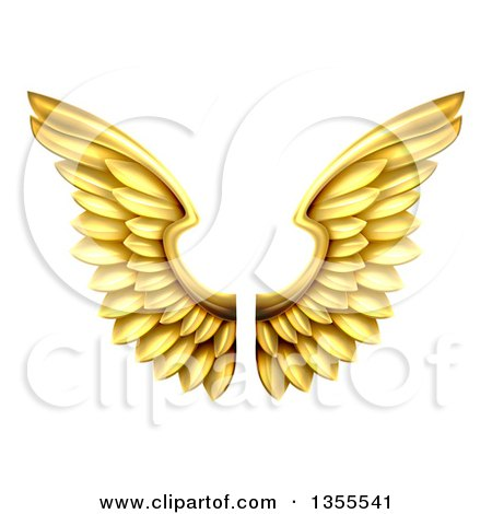 Clipart of a Pair of 3d Metal Golden Wings - Royalty Free Vector Illustration by AtStockIllustration