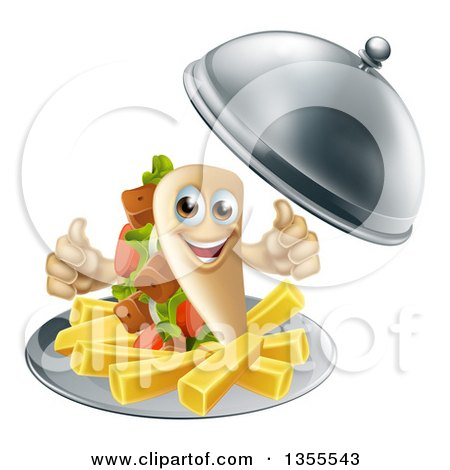 Clipart of a 3d Souvlaki Kebab Sandwich Character and French Fries Being Served in a Cloche Platter - Royalty Free Vector Illustration by AtStockIllustration