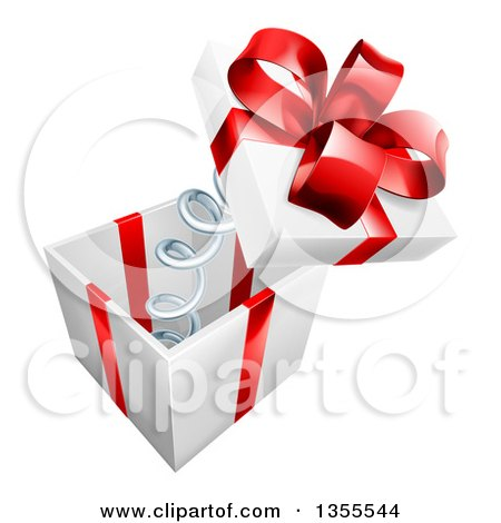 Clipart of a 3d Gift Box with a Red Bow and the Lid Popping off on a Spring - Royalty Free Vector Illustration by AtStockIllustration