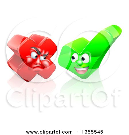 Clipart of Happy Check Mark and Mad X Mark Characters - Royalty Free Vector Illustration by AtStockIllustration
