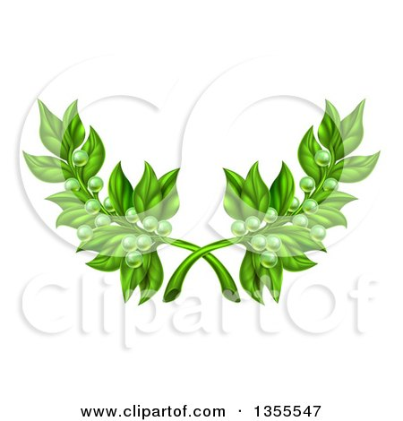 Clipart of Crossed Green Peace Olive Branches with Tiny Fruits - Royalty Free Vector Illustration by AtStockIllustration