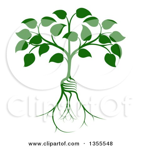 Clipart of a Leafy Heart Shaped Tree with Light Bulb Shaped Roots - Royalty Free Vector Illustration by AtStockIllustration
