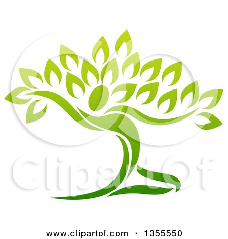 Clipart Of A Graceful Gradient Green Tree Man Royalty Free Vector Illustration