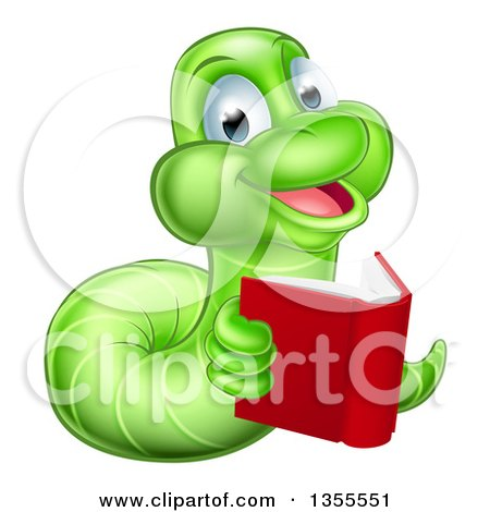Clipart of a Happy Green Earthworm Reading a Book - Royalty Free Vector Illustration by AtStockIllustration