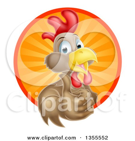 Clipart of a Happy Brown Chicken or Rooster Mascot Giving a Thumb up and Emerging from a Sun Ray Circle - Royalty Free Vector Illustration by AtStockIllustration