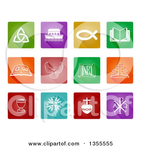 Clipart of Colorful and White Square Christian Icons - Royalty Free Vector Illustration by AtStockIllustration