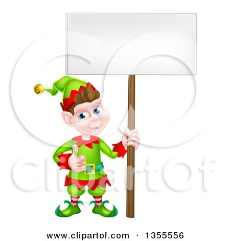 Clipart of a Cartoon Happy Male Christmas Elf Giving a Thumb up and Holding a Blank Sign - Royalty Free Vector Illustration by AtStockIllustration