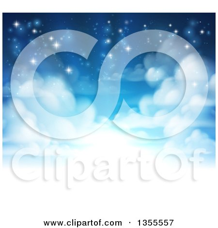 Clipart of a Background of Heavenly Sky with Shining Light and Clouds - Royalty Free Vector Illustration by AtStockIllustration