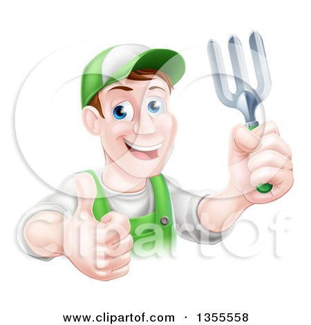 Clipart of a Middle Aged Brunette White Male Gardener in Green, Holding a Garden Fork and Thumb up - Royalty Free Vector Illustration by AtStockIllustration