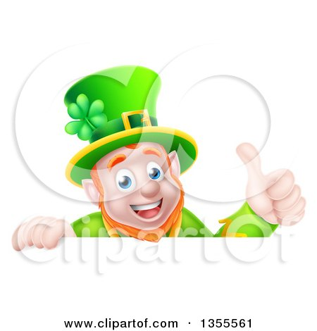 Clipart of a Cartoon Happy Leprechaun Giving a Thumb up over a Sign - Royalty Free Vector Illustration by AtStockIllustration