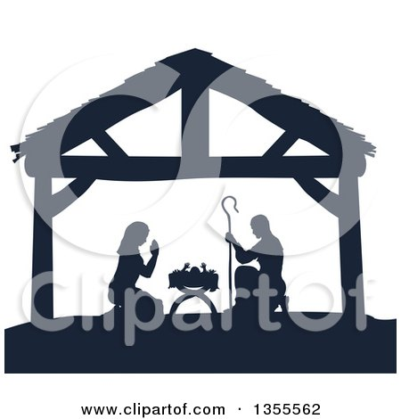 Navy Blue Silhouetted Mary and Joseph Praying over Baby Jesus in a Manger Posters, Art Prints