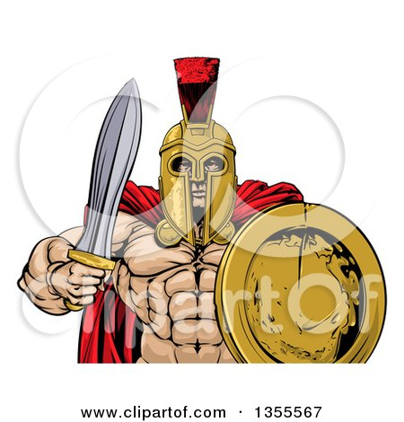 Clipart of a Shirtless Muscular Gladiator Man in a Helmet, Holding a Sword and Shield, from the Waist up - Royalty Free Vector Illustration by AtStockIllustration
