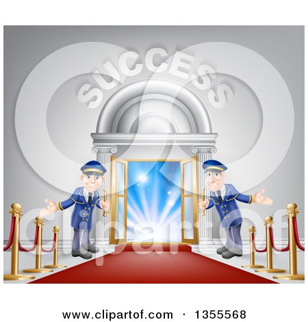 Clipart of a Venue Entrance with Welcoming Doormen, a Red Carpet and Posts, and Success Text over Light - Royalty Free Vector Illustration by AtStockIllustration