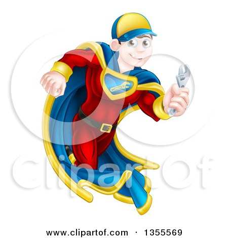 Clipart of a Young Brunette Caucasian Male Super Hero Mechanic Running with an Adjustable Wrench - Royalty Free Vector Illustration by AtStockIllustration