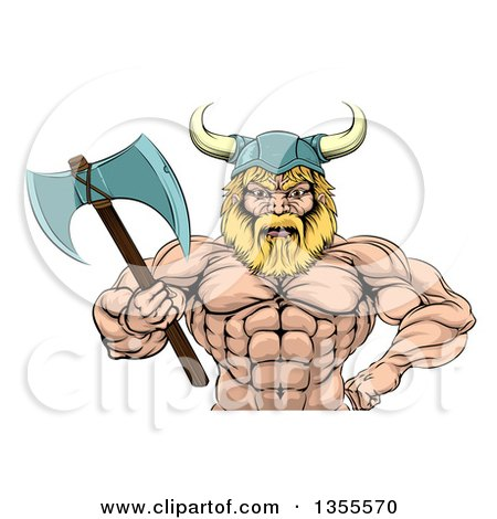 Clipart of a Cartoon Tough Muscular Blond Male Viking Warrior Wearing a Cape and Holding a Battle Axe - Royalty Free Vector Illustration by AtStockIllustration