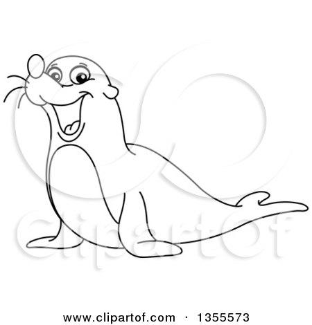 Sea lion clipart black and white - photo#7
