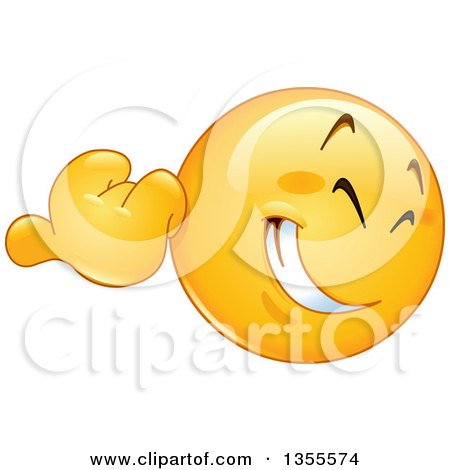 Clipart of a Cartoon Yellow Emoji Emoticon Using His Thumb to Gesture over His Shoulder - Royalty Free Vector Illustration by yayayoyo