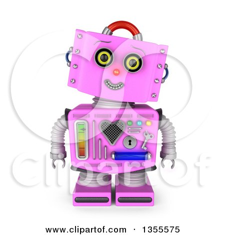 Clipart of a 3d Friendly Retro Pink Female Robot Tilting Her Head and Smiling - Royalty Free Illustration by stockillustrations