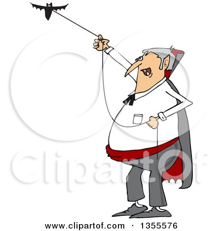 Clipart of a Cartoon Chubby Dracula Vampire Flying a Bat - Royalty Free Vector Illustration by djart