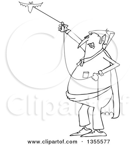 Outline Clipart of a Cartoon Black and White Chubby Dracula Vampire Flying a Bat - Royalty Free Lineart Vector Illustration by djart
