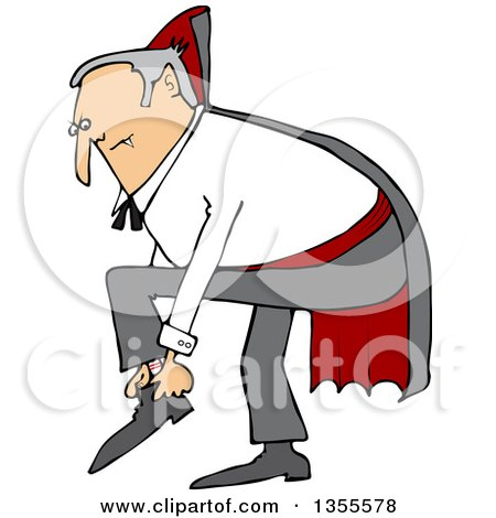 Clipart of a Cartoon Chubby Dracula Vampire Putting His Shoes on - Royalty Free Vector Illustration by djart