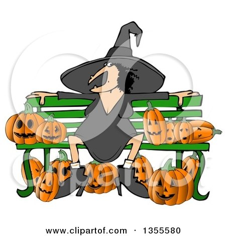 Clipart of a Cartoon Chubby Warty Halloween Witch Sitting on a Bench Surrounded by Jackolantern Pumpkins - Royalty Free Illustration by djart