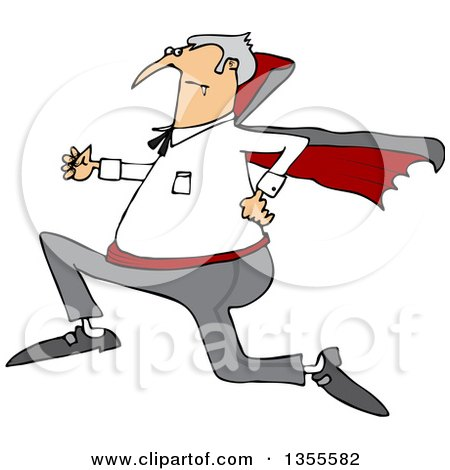 Clipart Of A Cartoon Chubby Halloween Dracula Vampire Running Royalty Free Vector Illustration