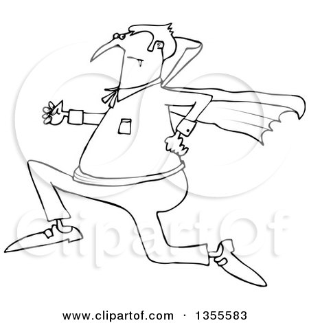 Outline Clipart of a Cartoon Black and White Chubby Halloween Dracula Vampire Running - Royalty Free Lineart Vector Illustration by djart
