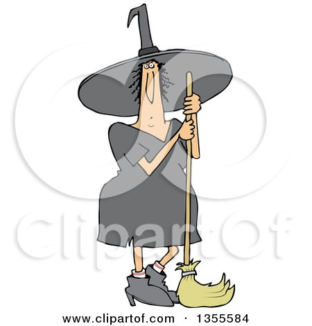 Clipart Of A Cartoon Chubby Halloween Witch Standing With A Broom Royalty Free Vector Illustration