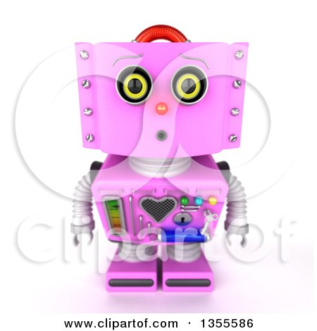Clipart of a 3d Curious Retro Pink Female Robot Looking up - Royalty Free Vector Illustration by stockillustrations
