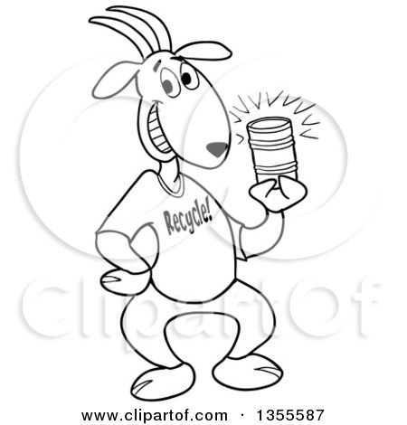 Outline Clipart of a Cartoon Black and White Goat Wearing a Recycle Shirt and Holding a Tin Can - Royalty Free Lineart Vector Illustration by LaffToon
