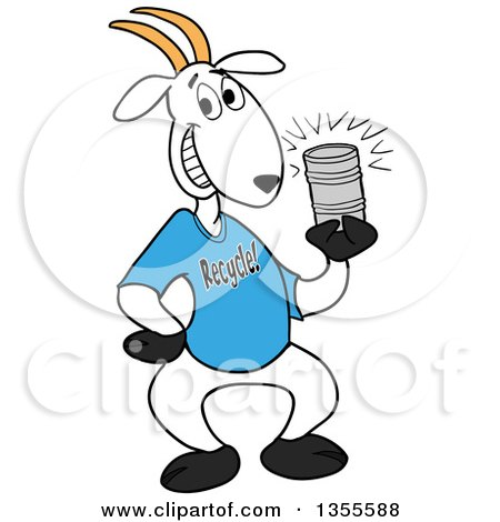 Clipart of a Cartoon Goat Wearing a Recycle Shirt and Holding a Tin Can - Royalty Free Vector Illustration by LaffToon