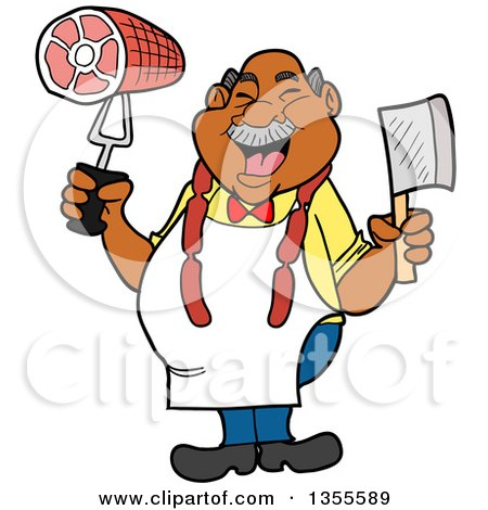 Clipart of a Cartoon Jolly Chubby Black Male Butcher Holding a Cleaver Knife and Ham, Wearing Sausage Around His Neck - Royalty Free Vector Illustration by LaffToon