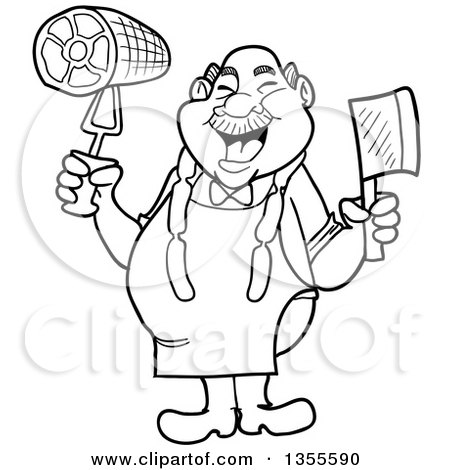 Outline Clipart of a Cartoon Black and White Jolly Chubby Male Butcher Holding a Cleaver Knife and Ham, Wearing Sausage Around His Neck - Royalty Free Lineart Vector Illustration by LaffToon