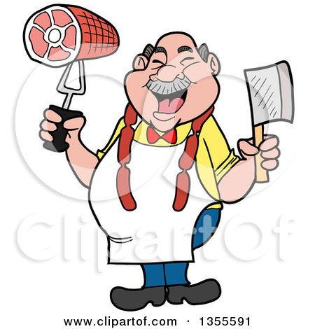 Clipart of a Cartoon Jolly Chubby White Male Butcher Holding a Cleaver Knife and Ham, Wearing Sausage Around His Neck - Royalty Free Vector Illustration by LaffToon