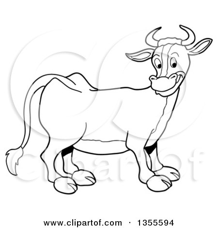 Outline Clipart of a Cartoon Black and White Happy Cow - Royalty Free Lineart Vector Illustration by LaffToon