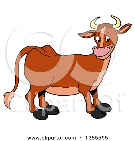 Clipart of a Cartoon Happy Brown Cow - Royalty Free Vector Illustration by LaffToon